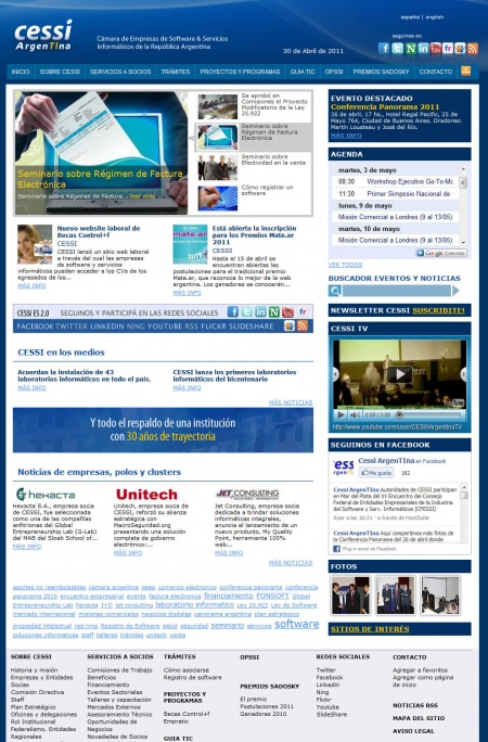 CESSI's new homepage, where members and guests can access to the whole chamber's content.